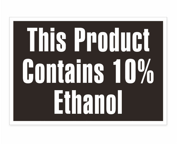 Contains 10% Ethanol Decal
