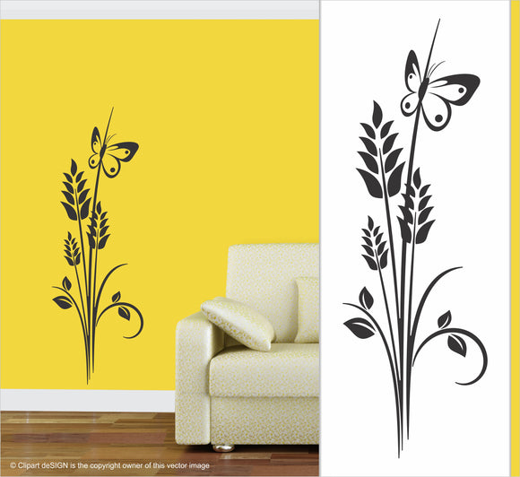 Wall Art / Natural Vibe: Wheat Grass Butterfly