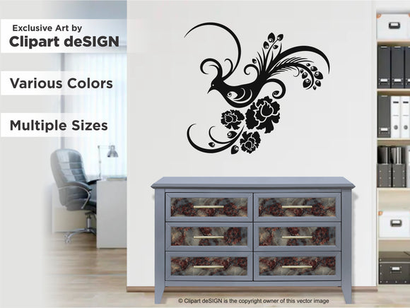 Ornamental Floral Peacock Wall Decal