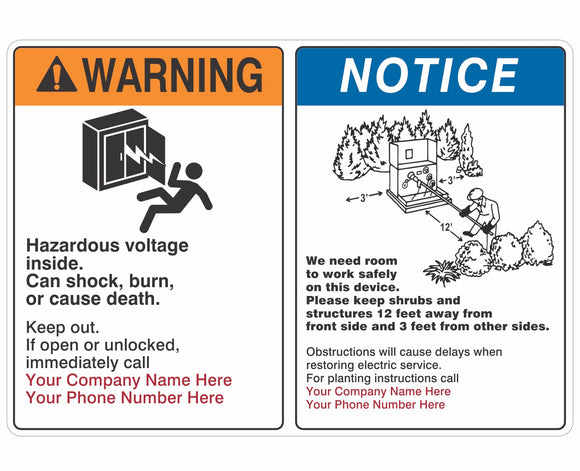 Warning Hazardous Voltage Obstruction Notice