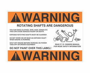 Decal / Industrial: Warning Rotating P.T.O. Shafts Are Dangerous