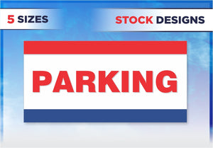 Red White & Blue Parking Banner