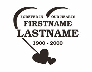 In Memory Decal Forever Hearts Design