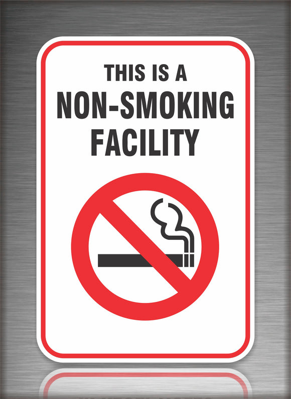 Sign / Notice: Non Smoking Facility White Background