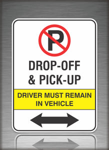 Sign / Notice: No Parking Drop Off Left & Right Arrow