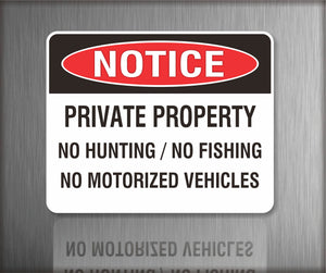 Sign / Notice: Private Property No Hunting No Fishing