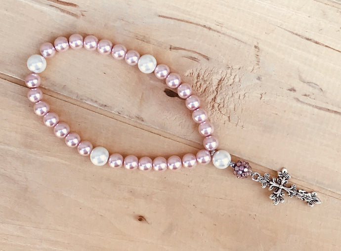Girls Prayer Beads/Pink Pearl Prayer Beads/Religious Gift/Baptism Keepsake Prayer Beads/Silver Cross/Girl Baptism Keepsake Gift/Get Well Gift/Sympathy Gift