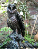 Garden Statue Ornament Figurine  Barn Owl Bronze Effect Resin,