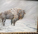 Original Painting in Acrylic Bison Buffalo Artist Signed Western Wildlife