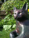 Lovely Cat Garden Statue Ornament Sculpture Bronze Effect.