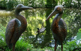 Pair Metal Cranes Bird Garden Ornaments Statues Bronze Effect Post 1-2 days