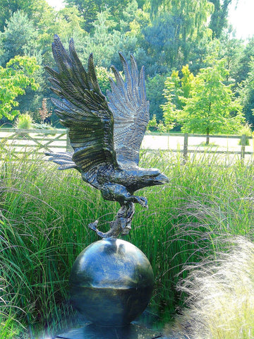 Eagle on Ball - Life-size aluminium statue