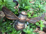 Bumble Bee Garden home Ornament Statue Copper effect highlights cast iron