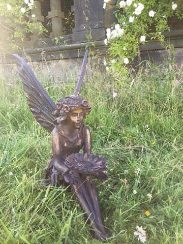 Large Sitting Fairy Ornament Statue Bronze Hand Finished