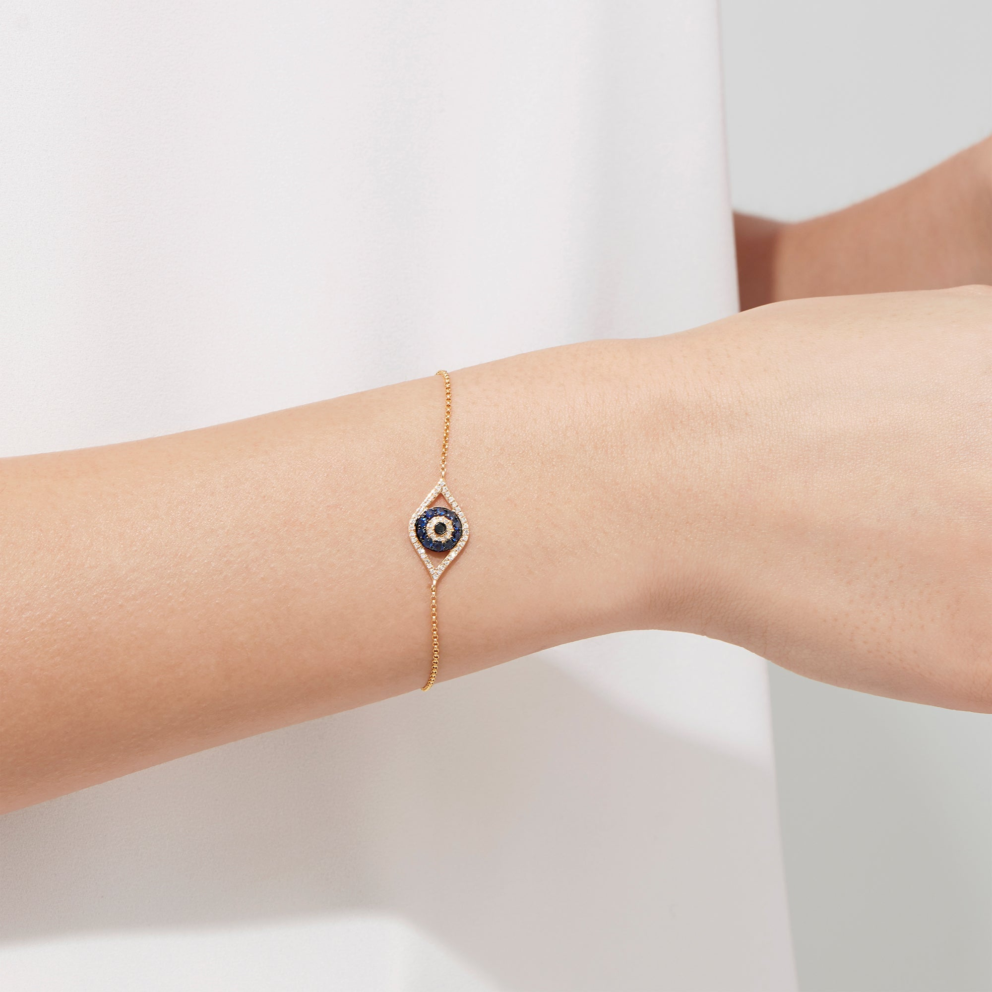 Effy Novelty 14K Yellow Gold Sapphire & Diamond Evil Eye Bracelet, 0.43 TCW