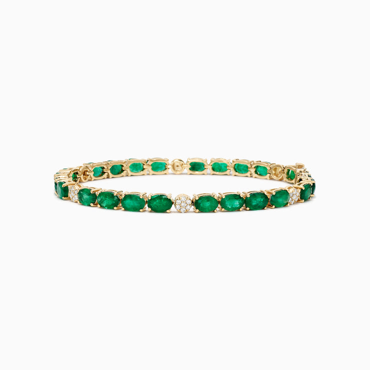 Effy Brasilica 14K Yellow Gold Emerald and Diamond Bracelet, 11.01 TCW