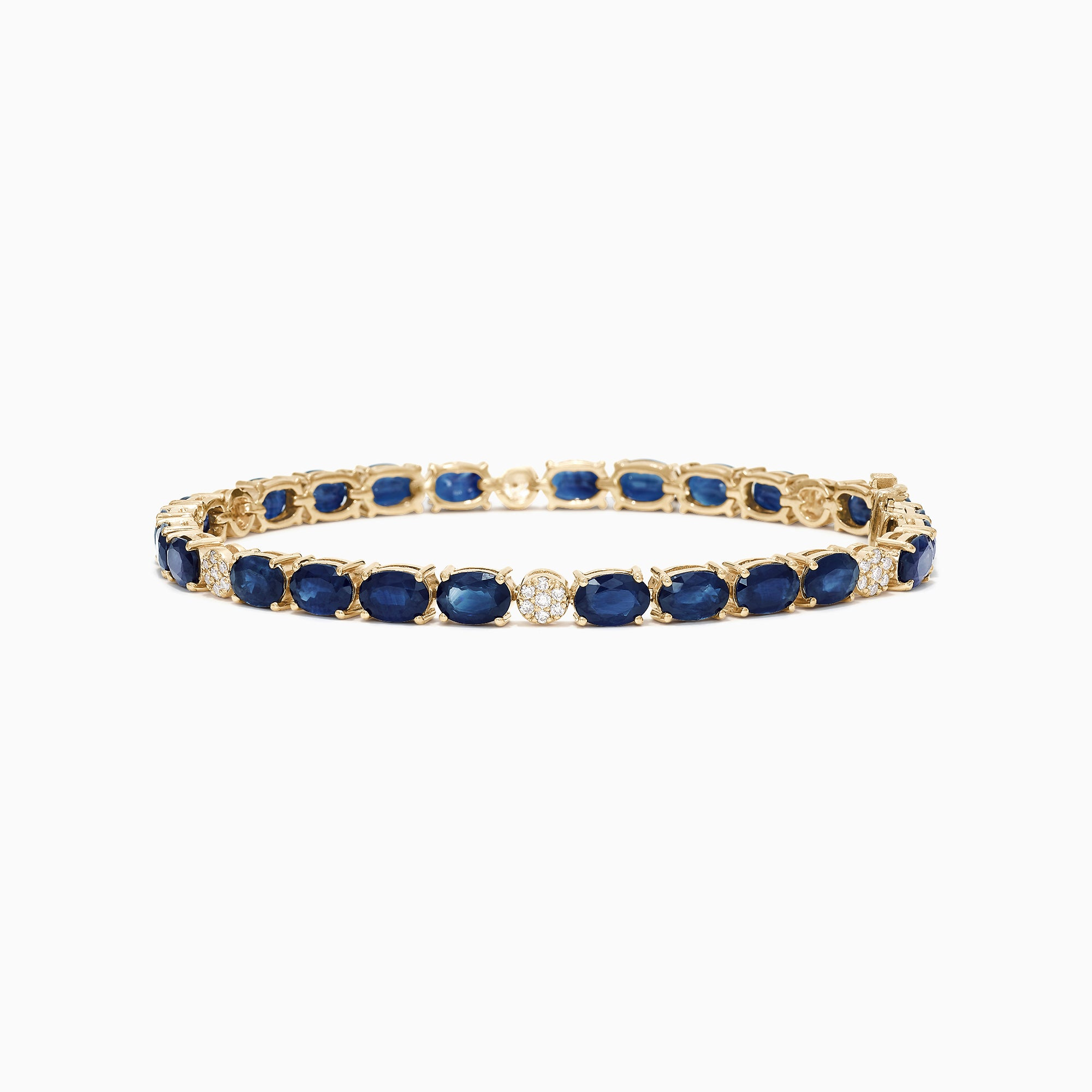 Effy Royale Bleu 14K Yellow Gold Sapphire and Diamond Bracelet, 14.57 TCW