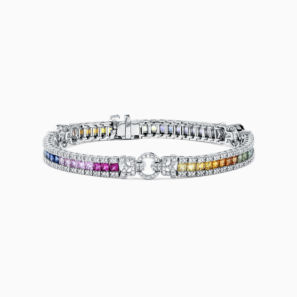Effy Watercolors 14K White Gold Multi Sapphire & Diamond Bracelet, 7.66 TCW