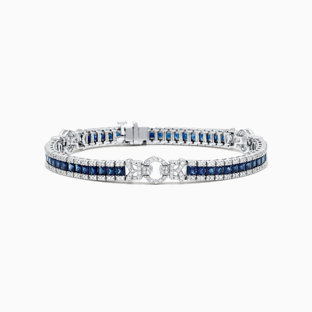 Effy Royale Bleu 14K White Gold Sapphire and Diamond Bracelet, 7.66 TCW