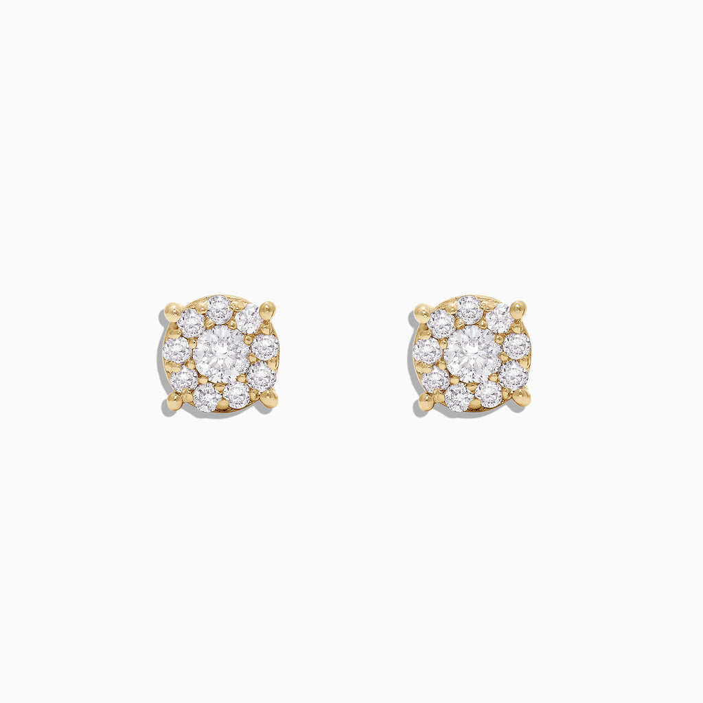 Effy Bouquet 14K Yellow Gold Diamond Cluster Stud Earrings, 0.50 TCW
