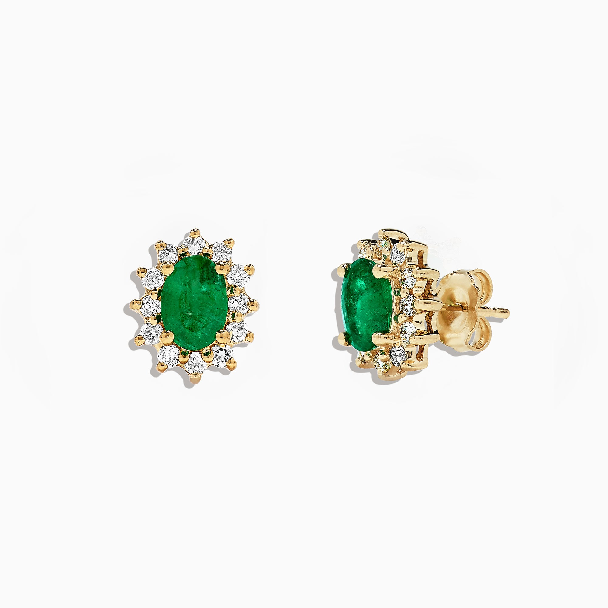 Effy Brasilica 14K Yellow Gold Emerald and Diamond Stud Earrings, 1.99 TCW