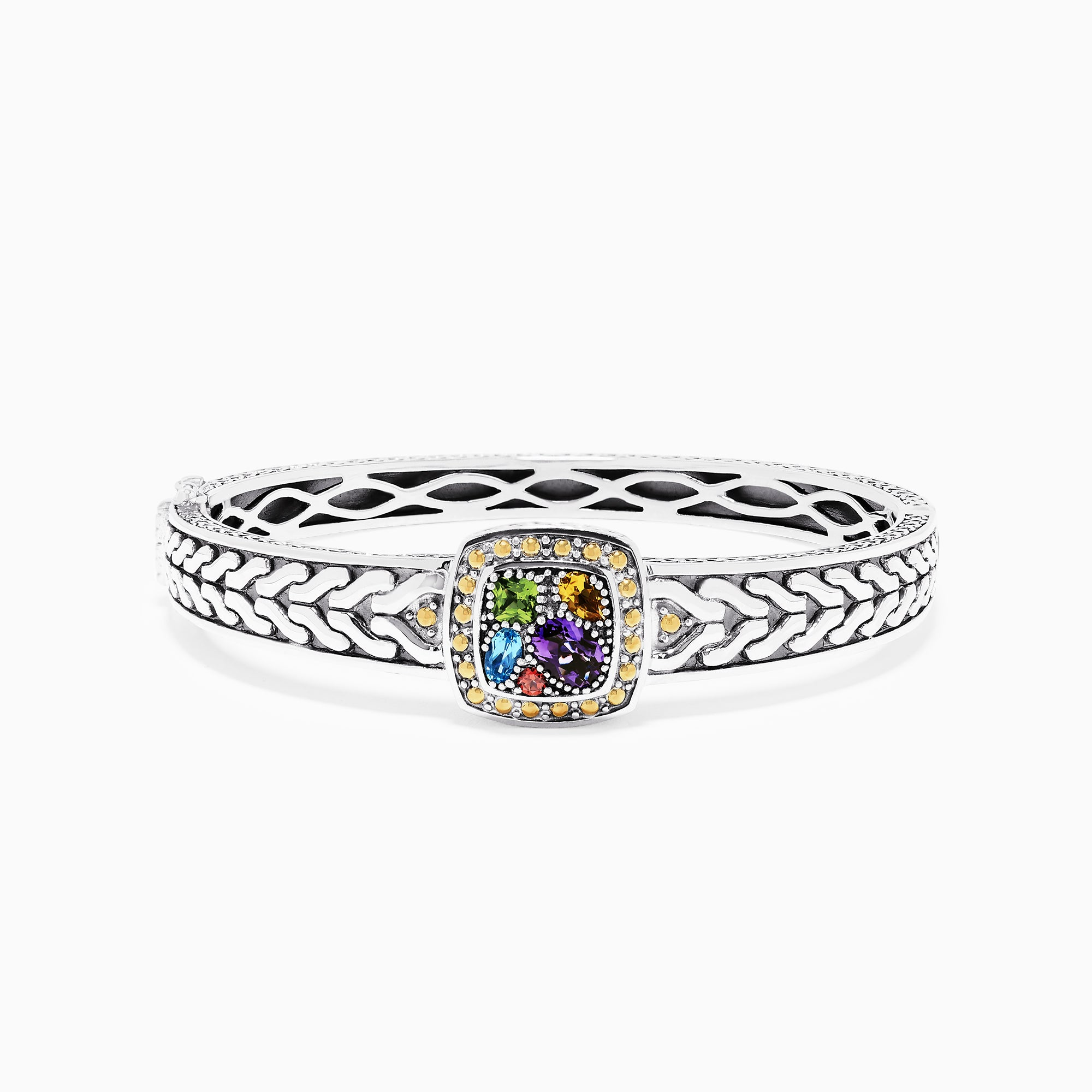 Effy 925 Sterling Silver & 18K Gold Accent Multi Gemstone Bangle, 1.59 TCW