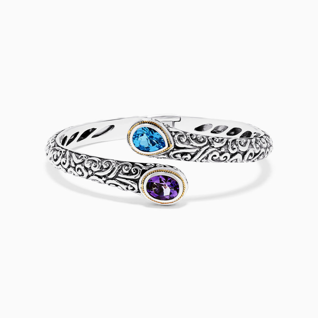 Effy 925 Sterling Silver & 18K Gold Topaz and Amethyst Bangle, 3.32 TCW