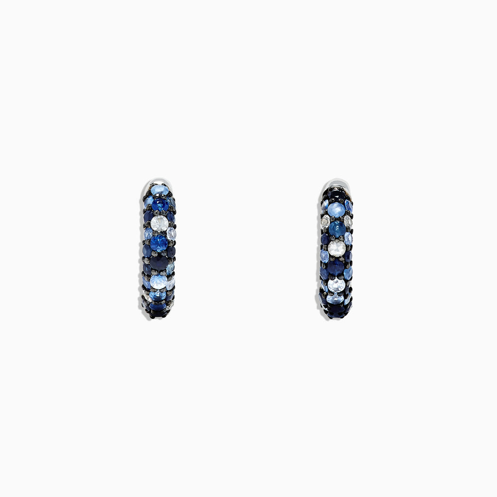 "Effy 925 Sterling Silver Blue Sapphire Splash 1/2"" Hoop Earrings, 1.77 TCW"