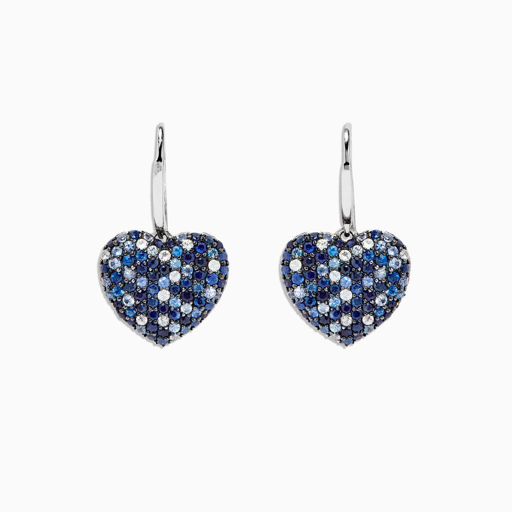 Effy 925 Splash Sapphire Heart Earrings