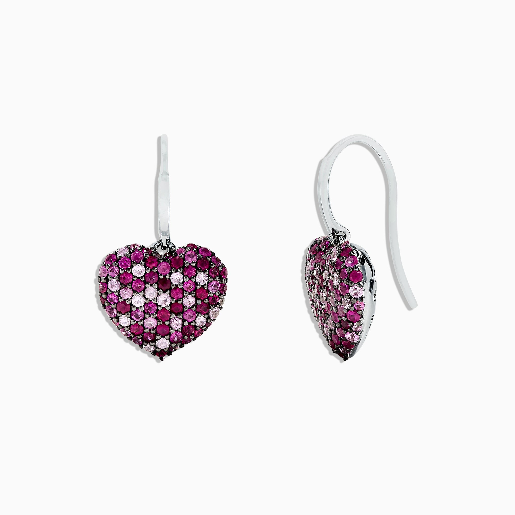 Effy 925 Sterling Silver Pink Sapphire Splash Heart Earrings, 2.30 TCW