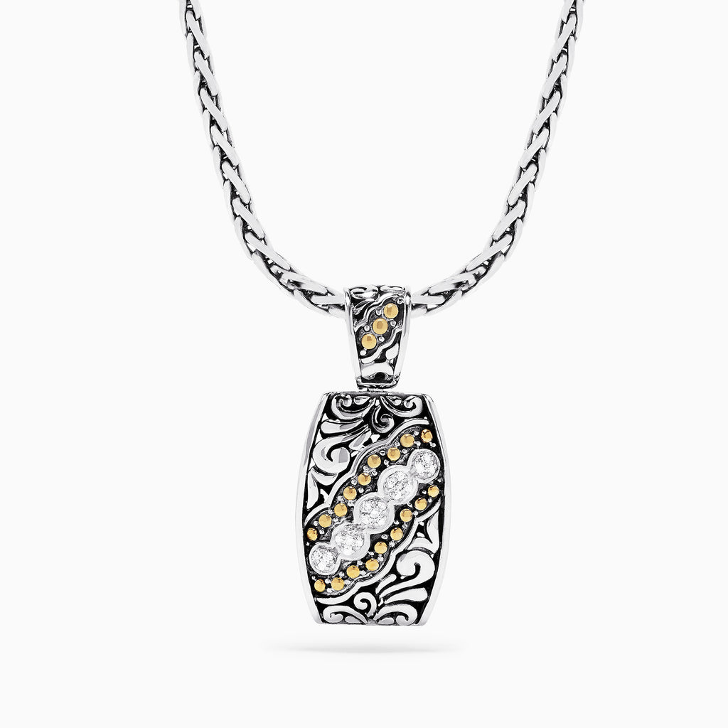 Effy 925 Sterling Silver and 18K Yellow Gold Diamond Pendant, 0.10 TCW
