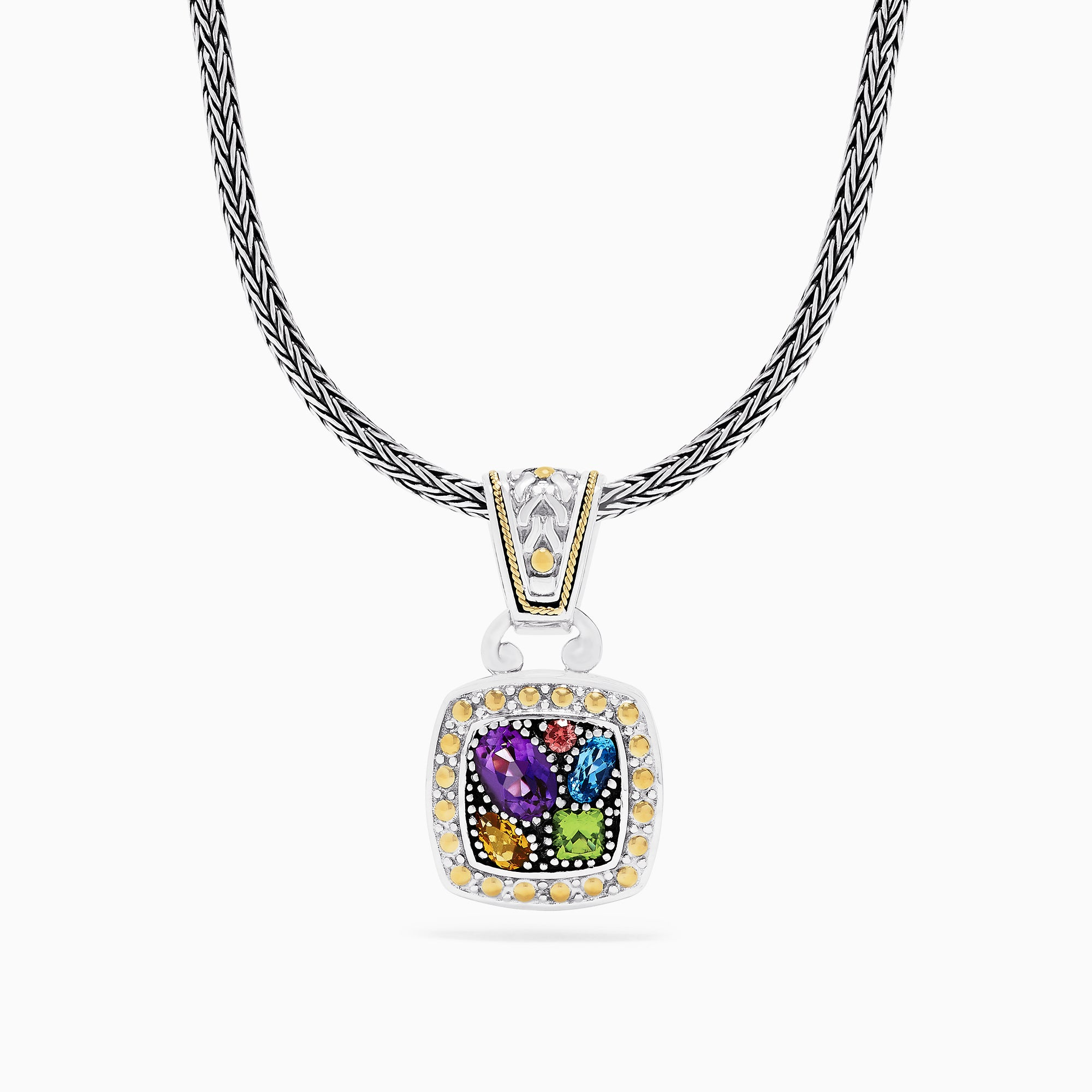 Effy 925 Sterling Silver & 18K Gold Accent Multi Gemstone Pendant, 1.59 TCW