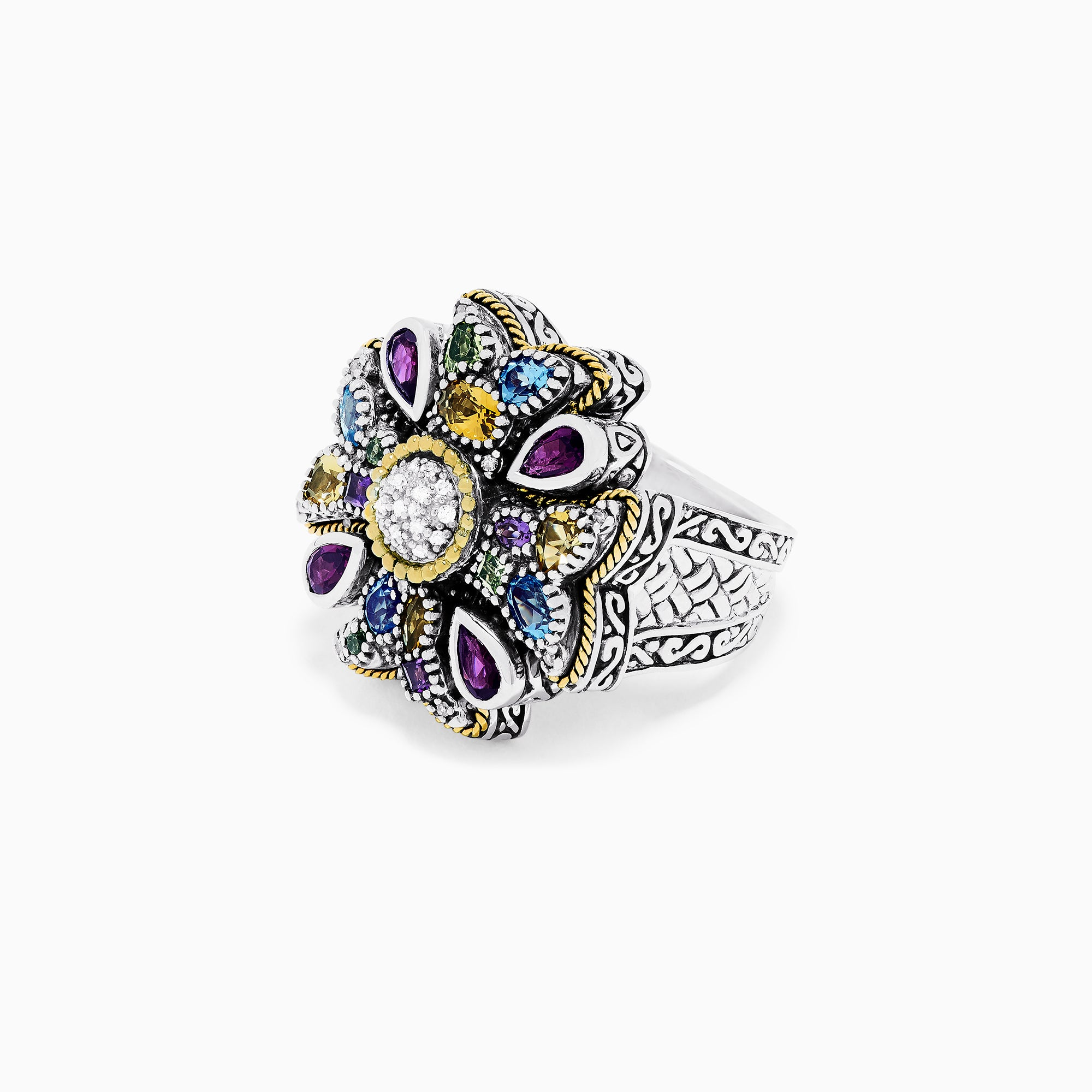 Effy 925 Sterling Silver Multi Gemstone and Diamond Cross Ring, 3.27 TCW