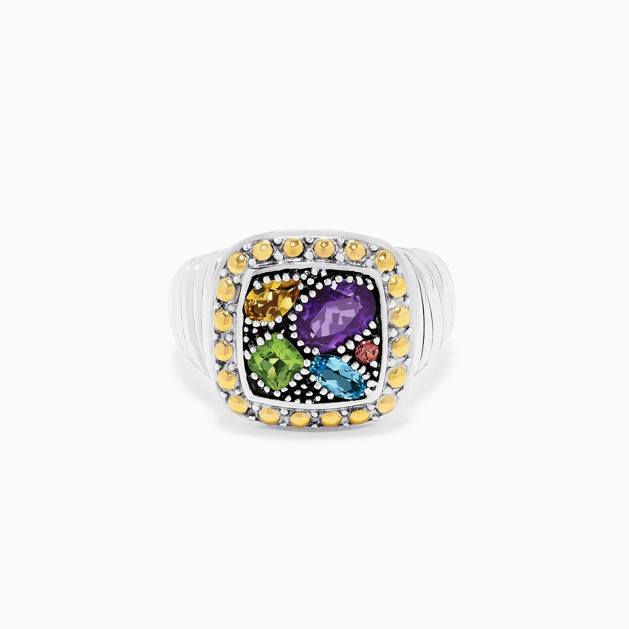 Effy 925 Sterling Silver & 18K Gold Accent Multi Gemstone Ring, 1.54 TCW
