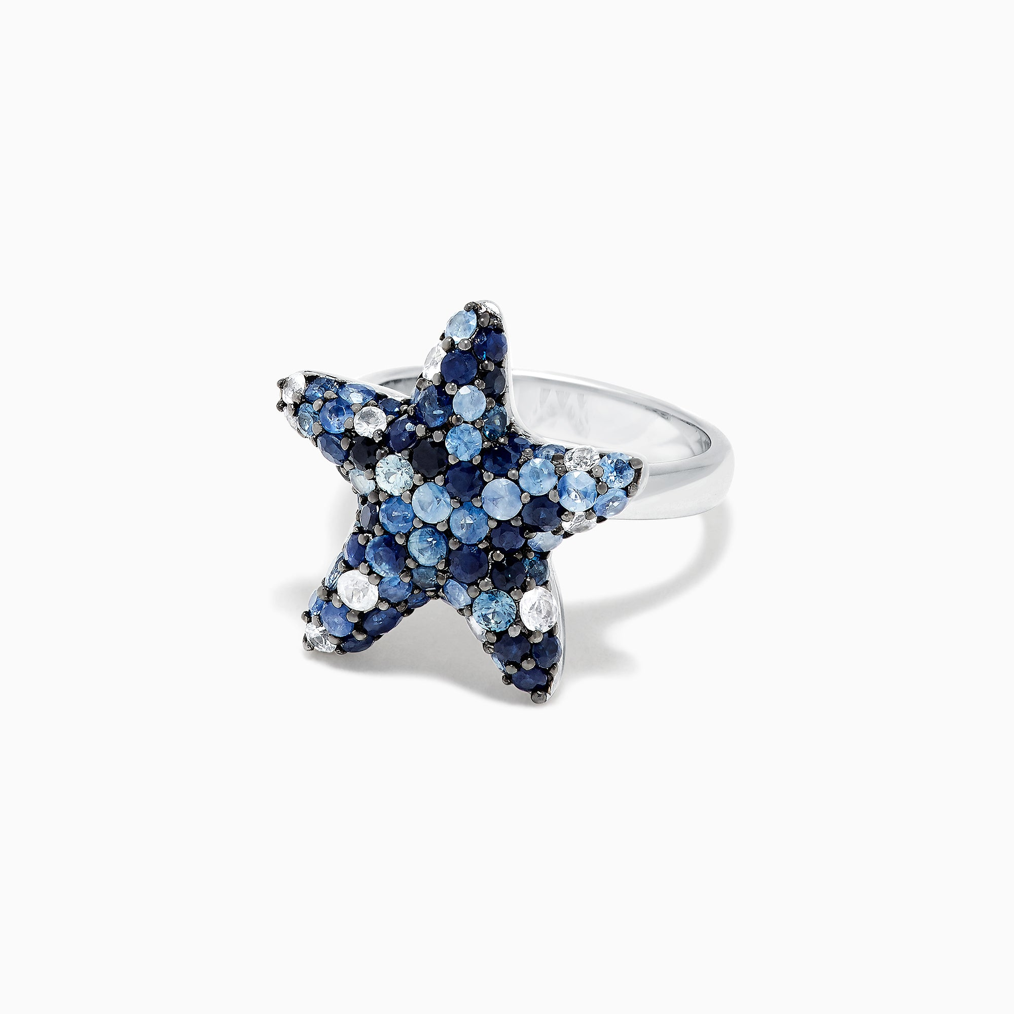 Effy 925 Sterling Silver Blue Sapphire Splash Starfish Ring, 3.07 TCW