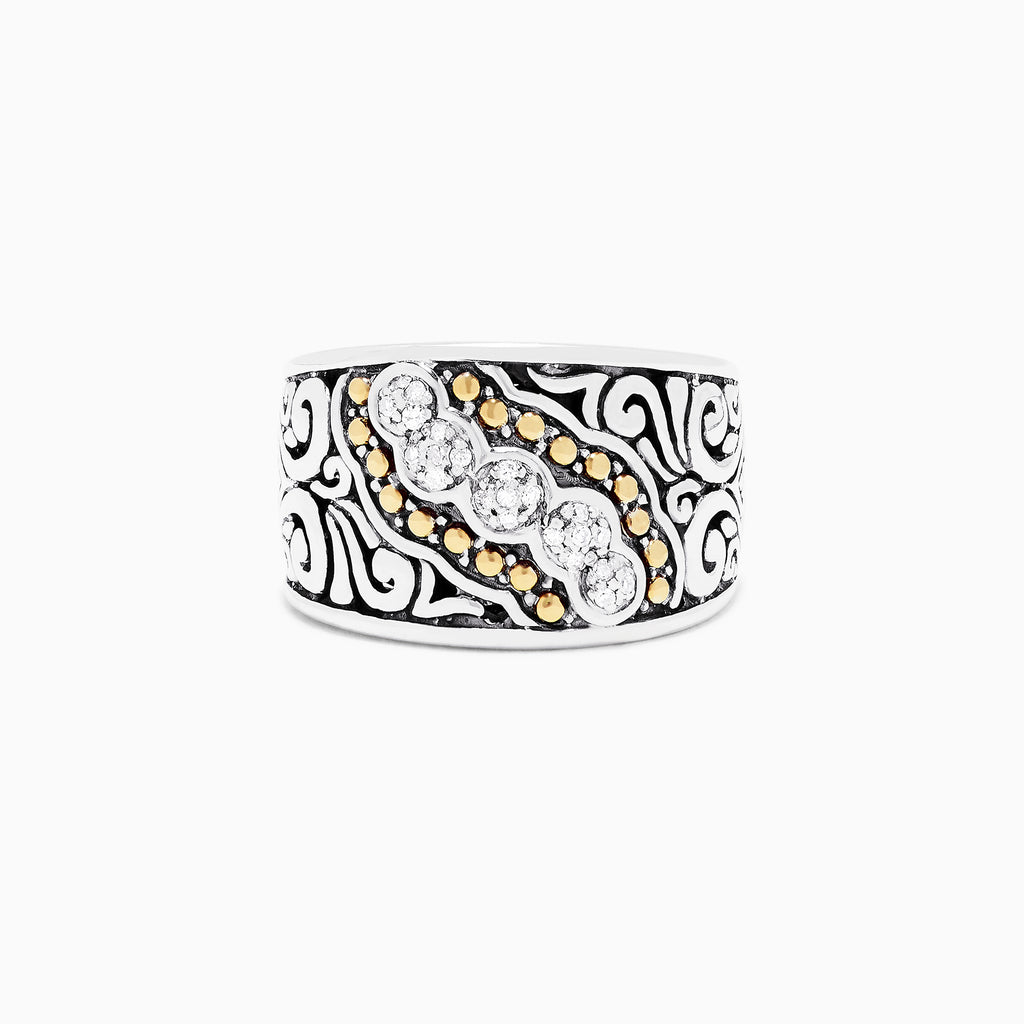 Effy 925 Sterling Silver and 18K Yellow Gold Diamond Ring, 0.10 TCW