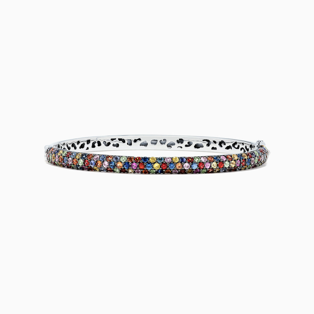 Effy 925 Sterling Silver Multi Sapphire Splash Bangle, 4.23 TCW