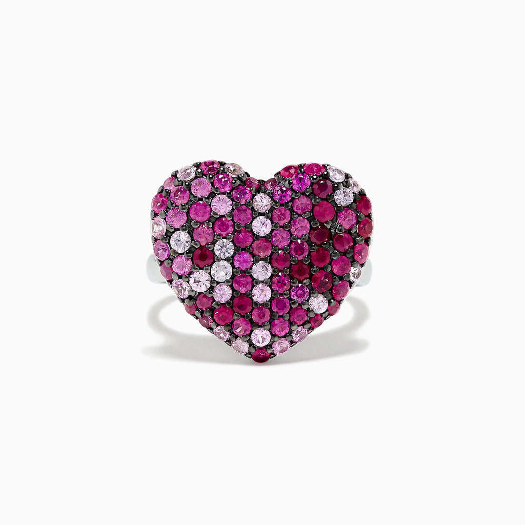 Effy 925 Sterling Silver Pink Sapphire Splash Heart Ring, 2.53 TCW