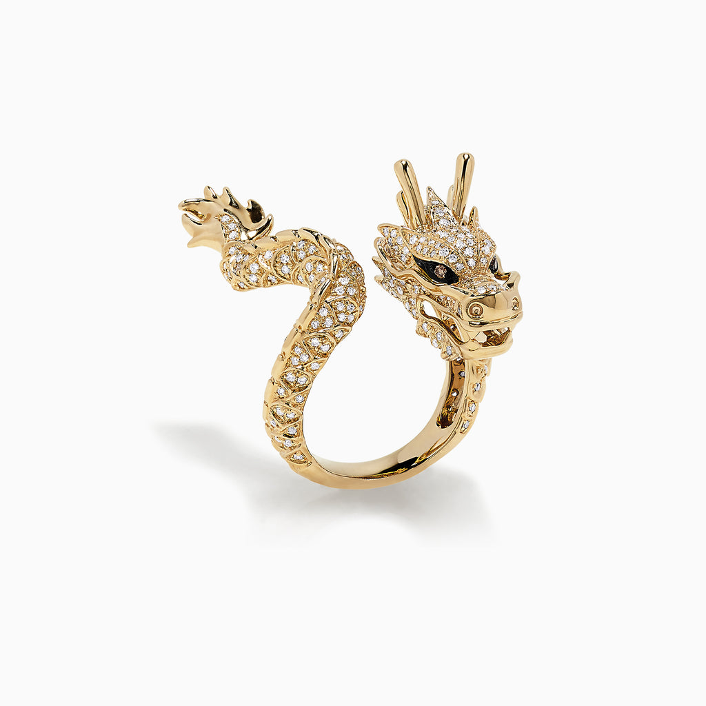 Effy Safari 14K Yellow Gold Diamond Dragon Ring, 1.08 TCW