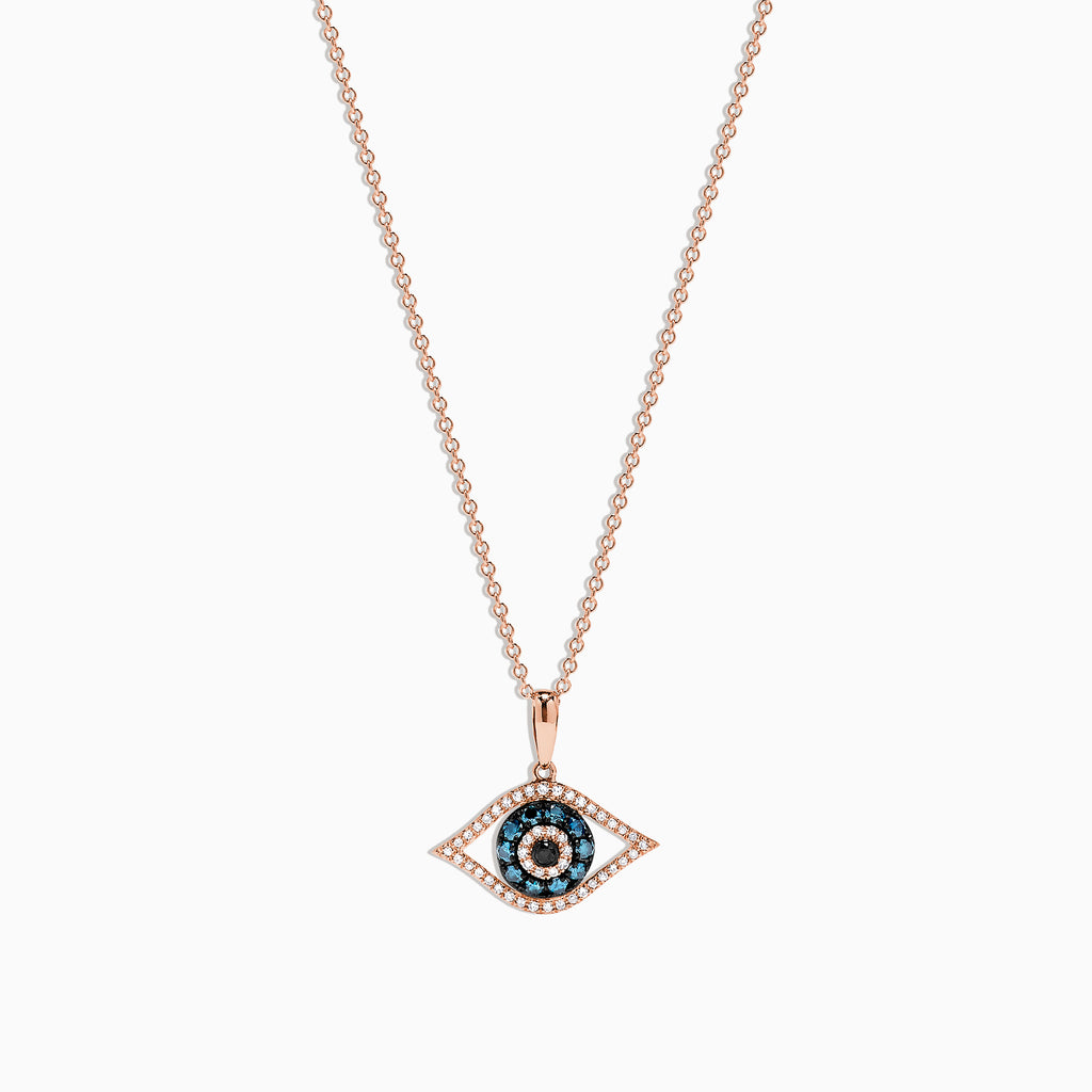 Effy 14K Rose Gold Blue, White and Black Diamond Evil Eye Pendant, 0.34 TCW