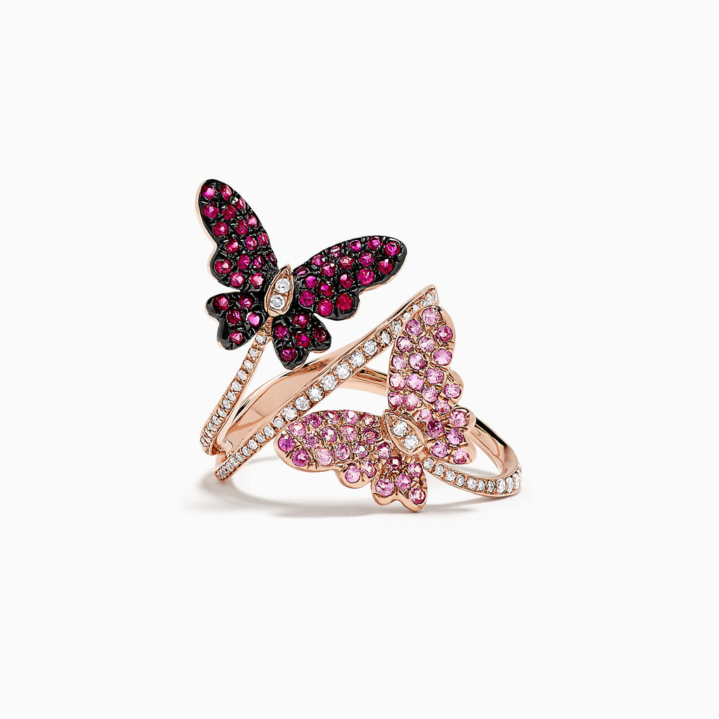 Effy Nature 14K Rose Gold Ruby, Sapphire & Diamond Butterfly Ring, 1.21 TCW