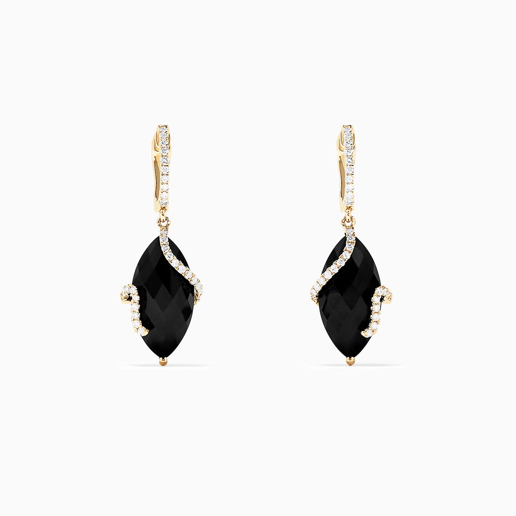 Effy Eclipse 14K Yellow Gold Onyx and Diamond Drop Earrings, 13.18 TCW