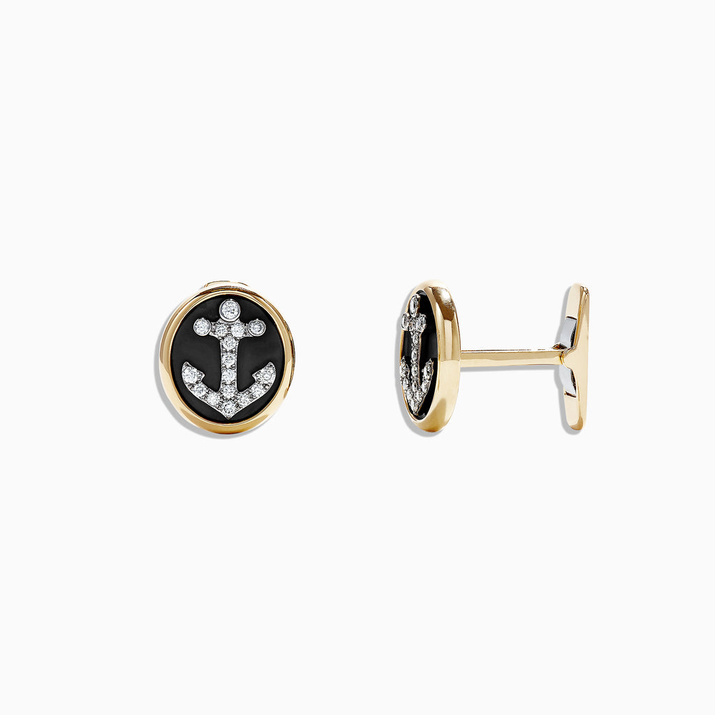 Effy Men's 14K Yellow Gold Diamond Anchor Cufflinks, 0.49 TCW