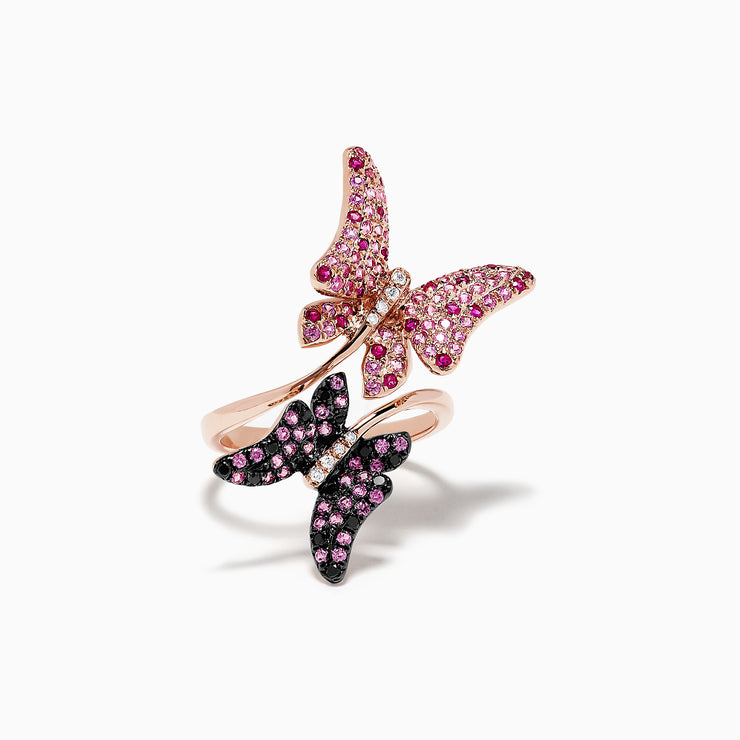 Effy Nature 14K Gold Ruby, Sapphire and Diamond Butterfly Ring, 1.47 TCW