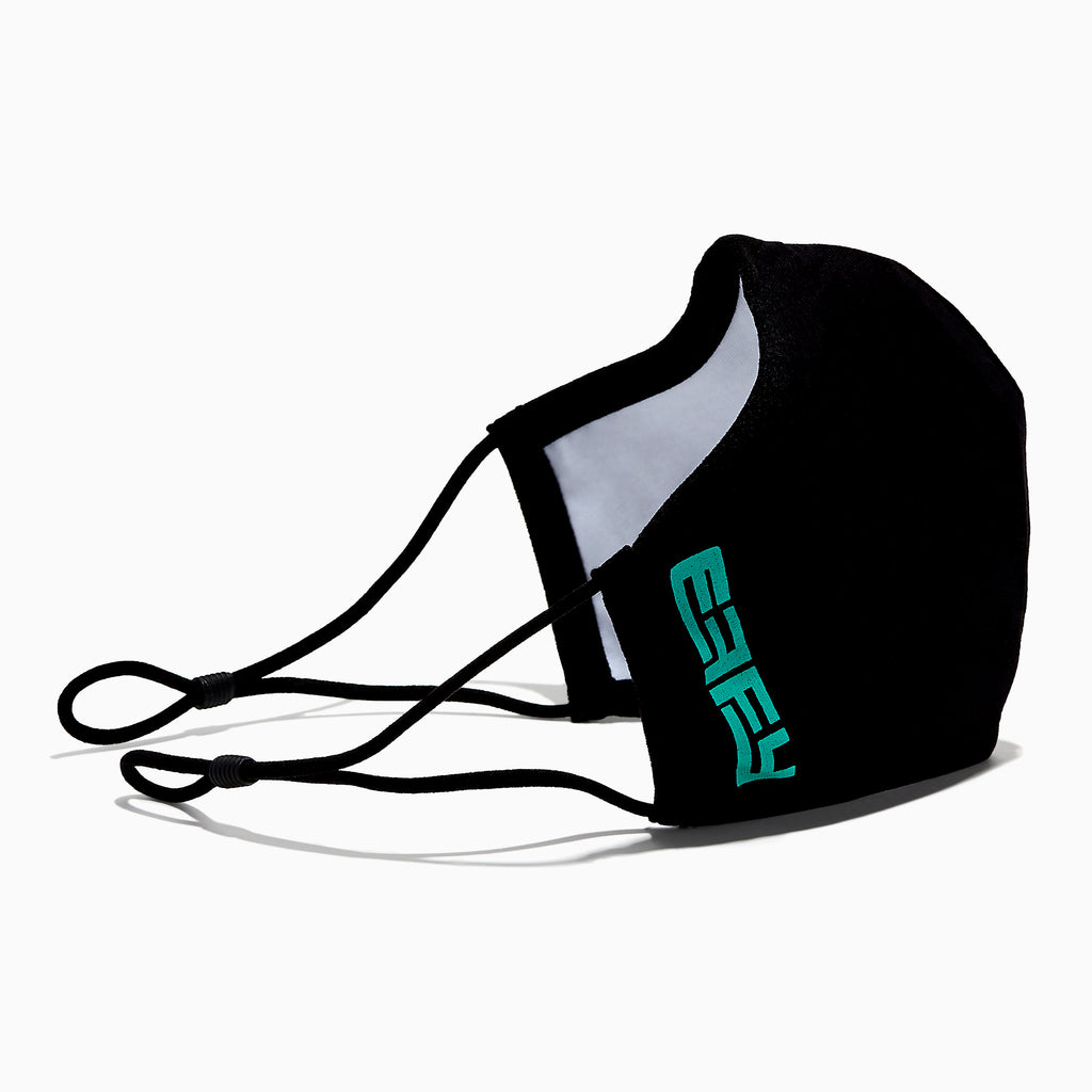 Effy Knitted Face Mask - Adult - Black with Teal Logo