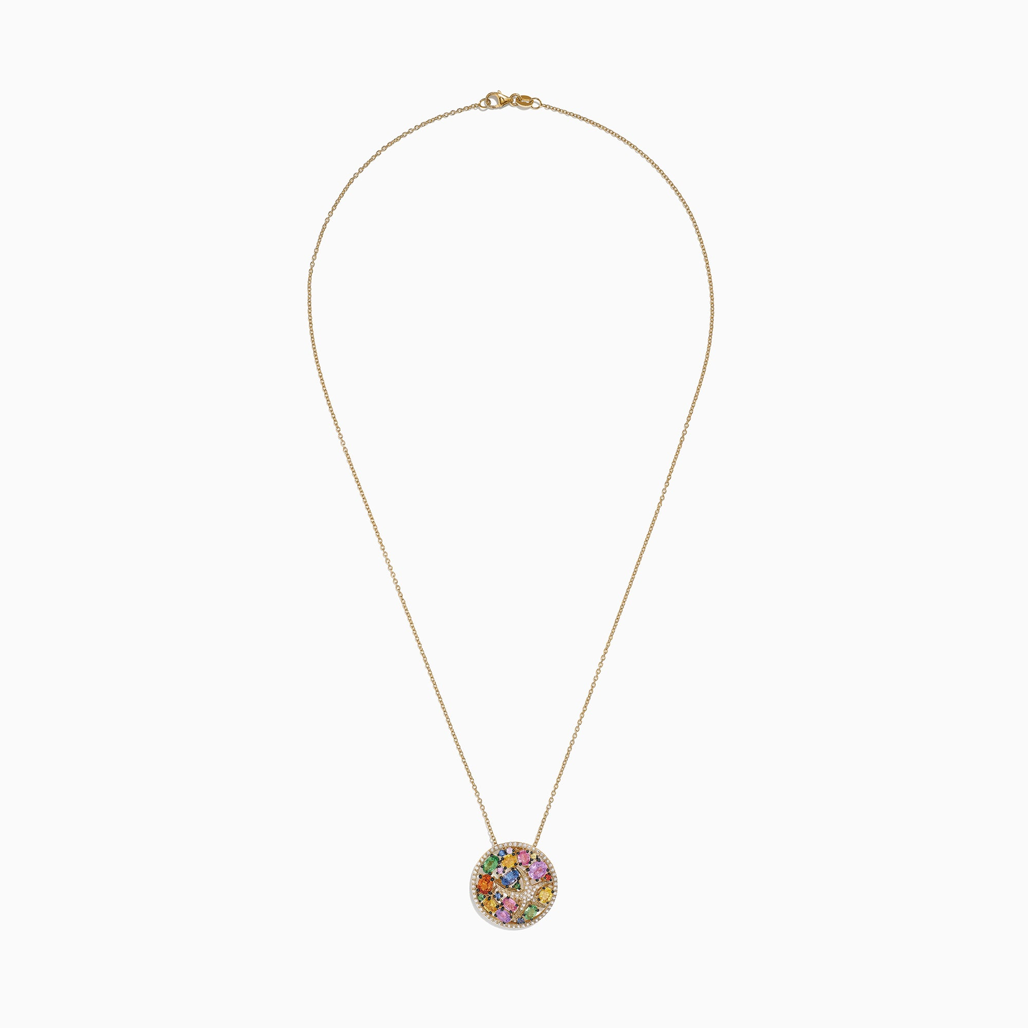 Effy Watercolors 14K Yellow Gold Multi Sapphire & Diamond Pendant, 3.65 TCW