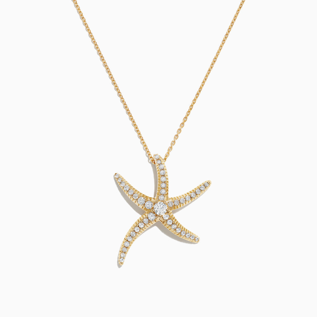 Effy D'Oro 14K Yellow Gold Diamond Starfish Pendant, 0.51 TCW