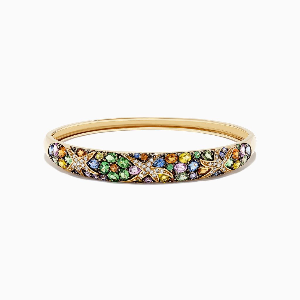 Effy Watercolors 14K Yellow Gold Multi Sapphire & Diamond Bangle, 7.89 TCW