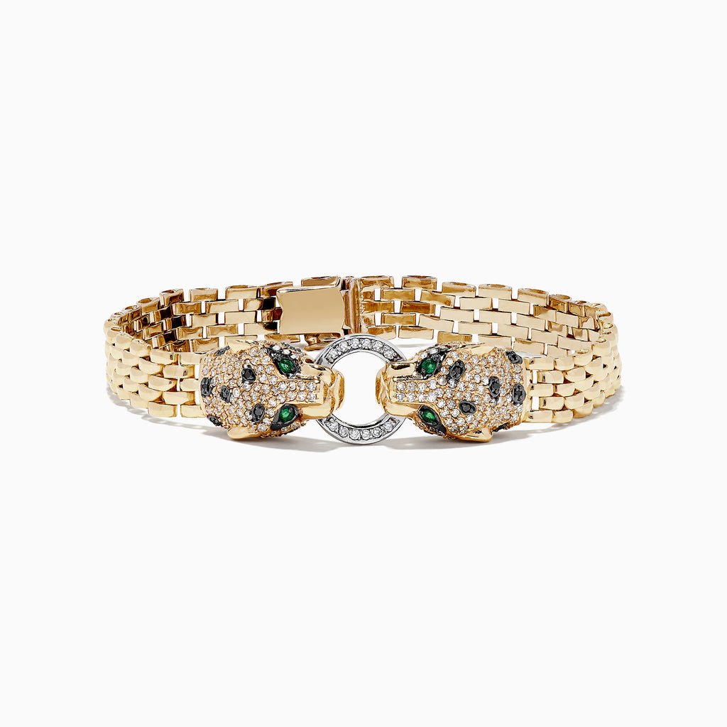 "Effy Signature 14K 2-Tone Gold Diamond and Emerald 7"" Bracelet, 1.35 TCW"