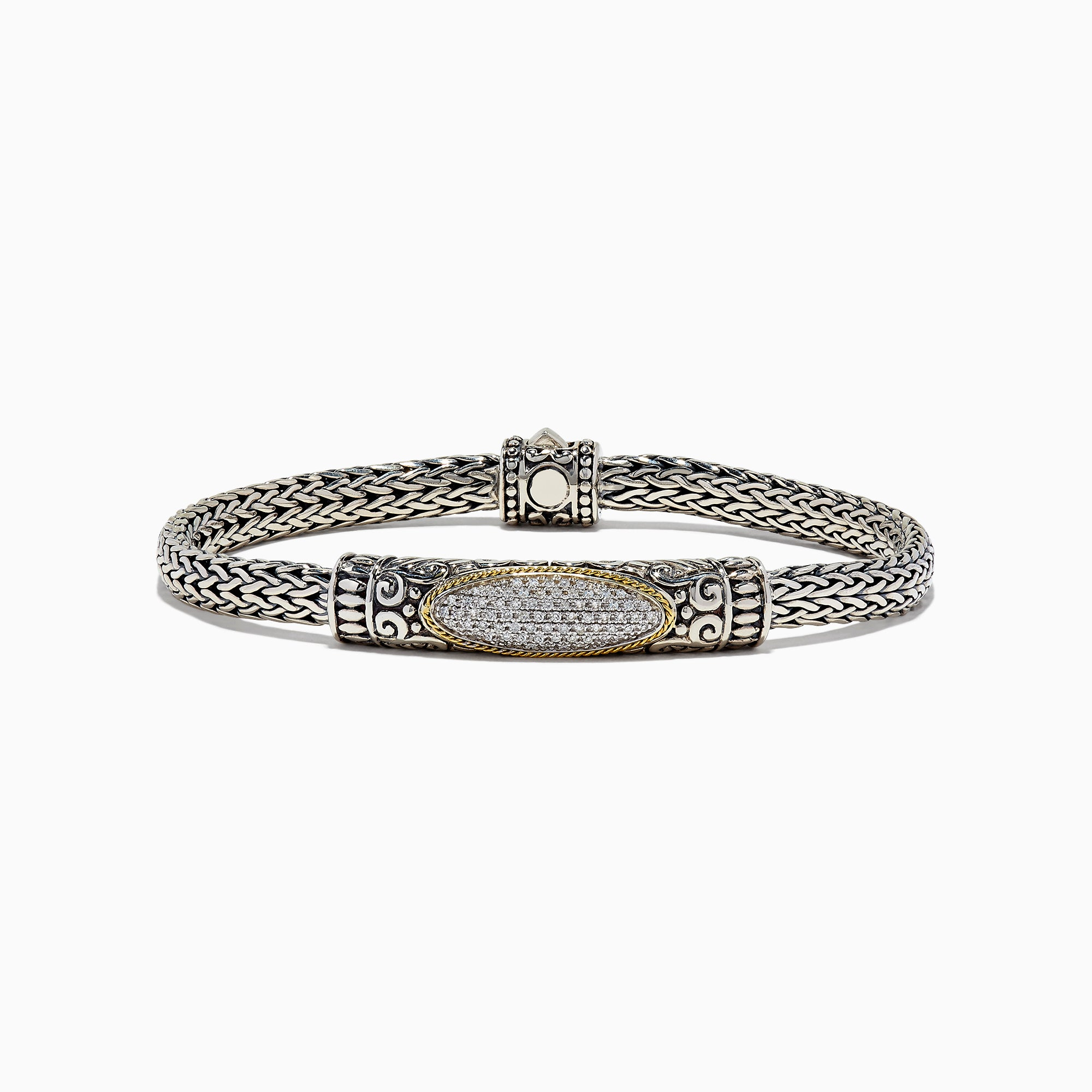 Effy 925 Sterling Silver and 18K Gold Accented Diamond Bracelet, 0.30 TCW